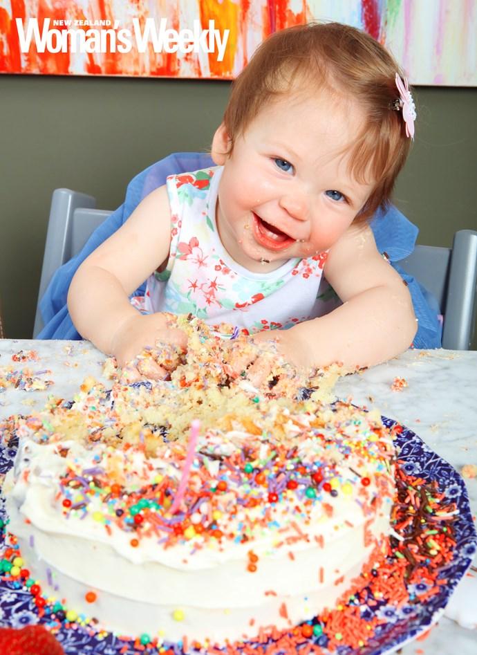 Jemima made quick work of her birthday cake