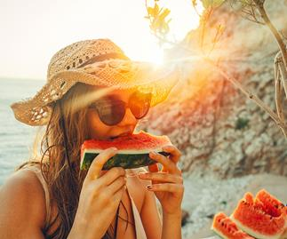 Eating fruit in summer
