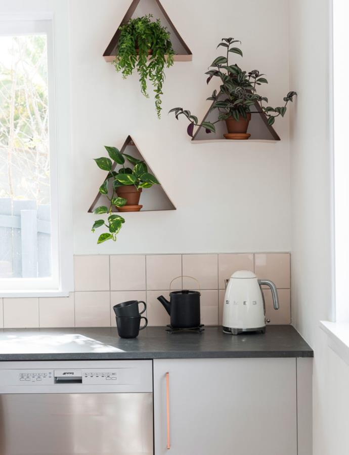 """She designed the kitchen and bathroom first (""""because the plumber needs to get in and do their first fix"""") and found herself hankering for copper tapware and a blush-pink splashback in the kitchen."""
