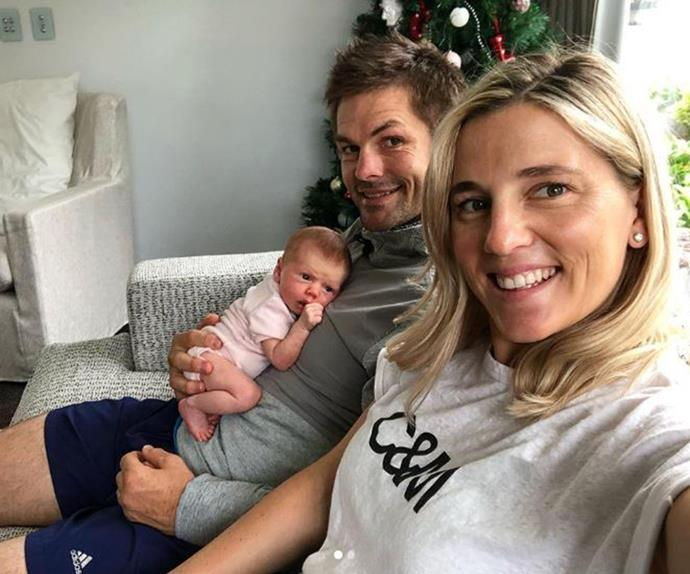 Gemma McCaw and Richie McCaw with new baby Charlotte Rose McCaw