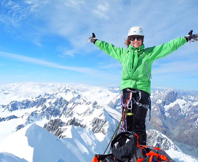 Jo on the summit of Mt Tasman.