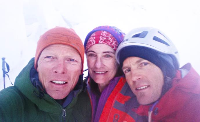 Jo with the friends she lost on the climb, Wolfgang Maier and Martin Hess