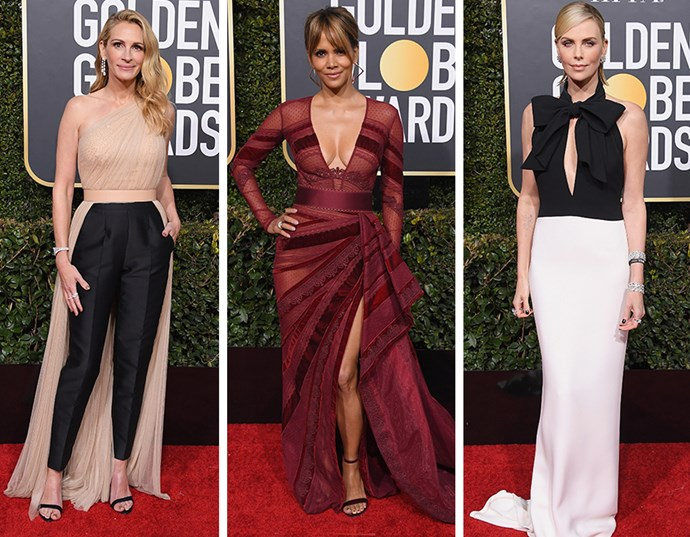 Golden Globe awards red carpet fashion Julia Roberts Halle Berry Charlize Theron