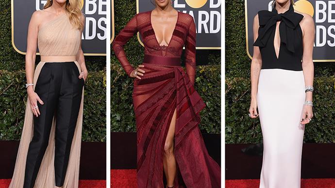 Golden Globe awards red carpet fashion Julia Roberts Halle Berry Charlize Theron