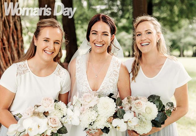 Sarah's with bridesmaid Laura Smulders and maid of honour Rebecca Avery