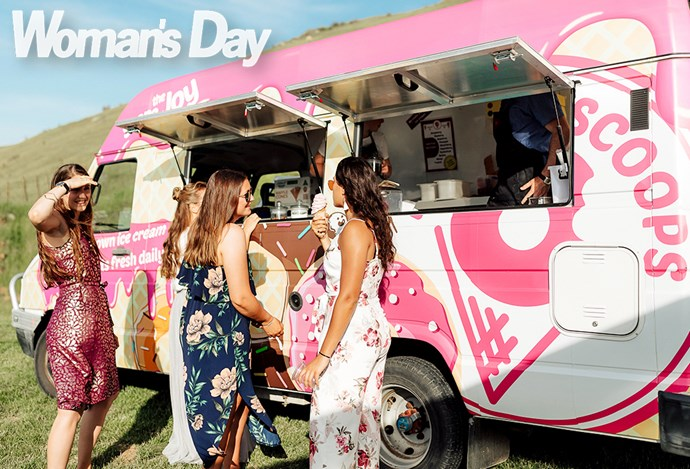 Guests tucked into wood-fired pizza and soft-serve cones from foodtrucks