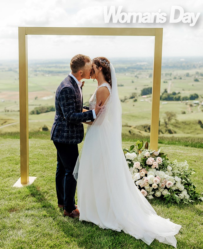 The couple chose a picturesque hilltop wedding location overlooking their beloved hometown.