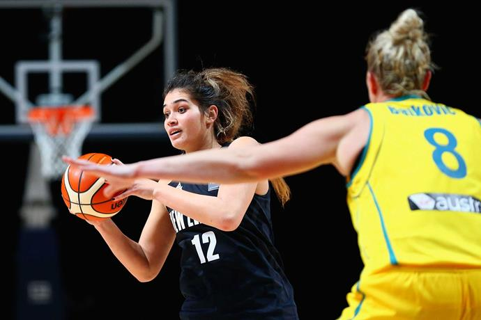 Playing for the Tall Ferns against Aussie. *Photo: Getty*