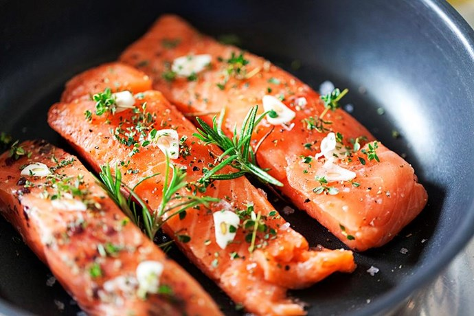 **Fish** <br><br> While all kinds of fish are great for weight loss, tuna and salmon are high in omega-3 fatty acids, which may switch off belly fat genes. What's not to love? *(Source: Getty)*