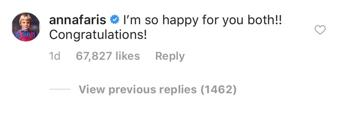 Anna left a sweet congratulatory message on Chris' engagement announcement. (Source: Instagram)