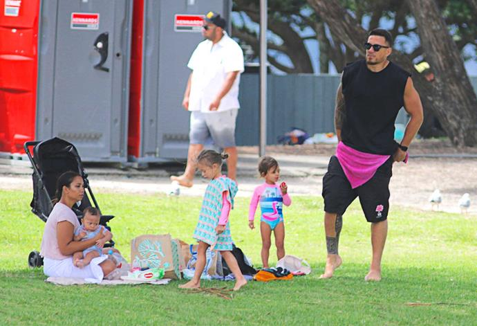 Sonny's wife Alana keeps new baby Zaid in the shade as daughters Imaan and Aisha get ready for a swim.