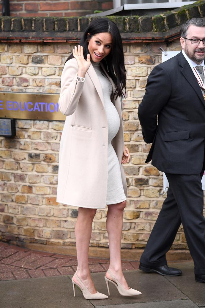 Duchess Meghan stepped out in head-to-toe beige. (Source: Getty)