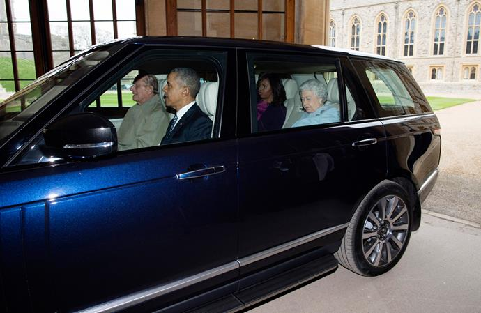 Prince Philip driving the Queen and the Barrack and Michelle Obama in 2016. (Source: Getty)