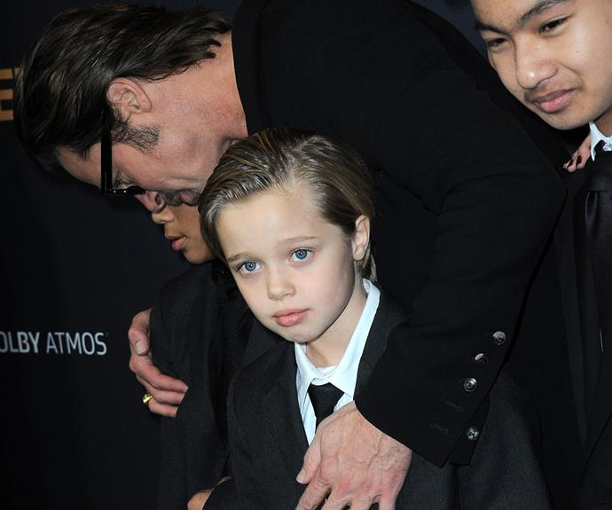 Brad with Shiloh, Pax and Maddox at the premiere of *Unbroken* in December 2014. He and Angelina filed for divorce in September 2016.