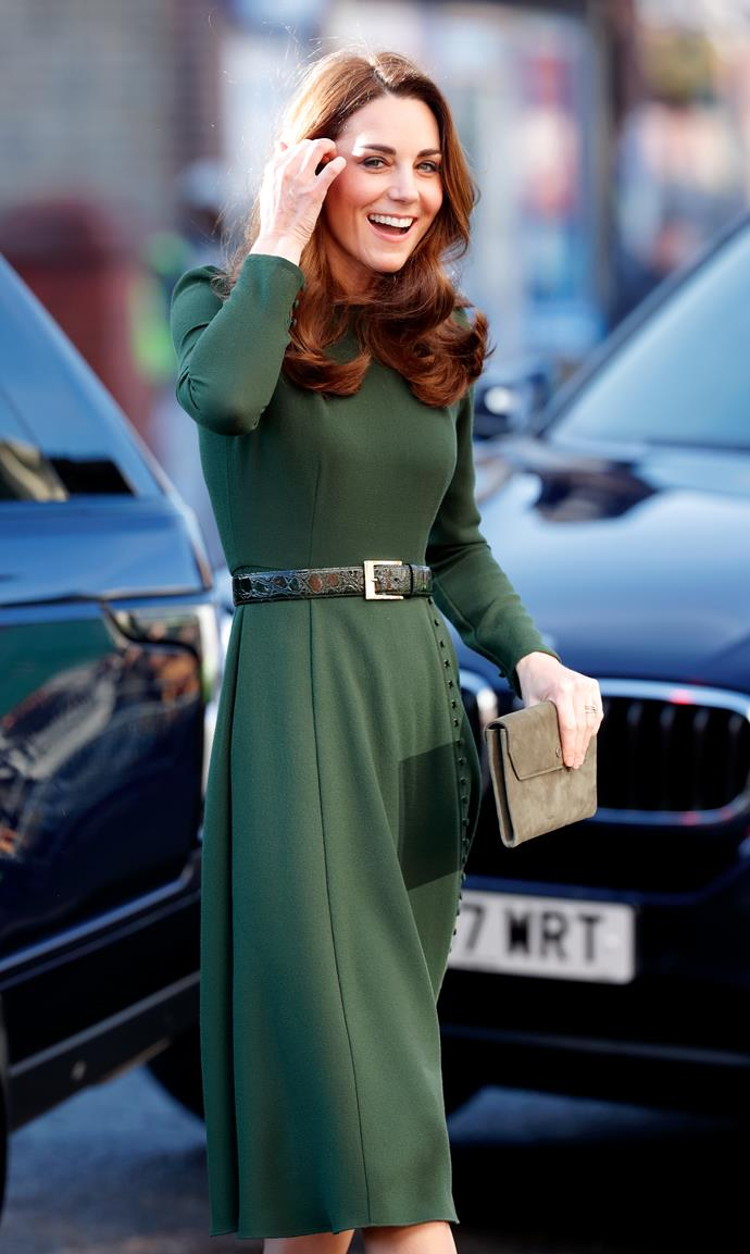 Duchess Catherine stepped out in a beautiful olive green dress by Beulah during a visit to the charity Family Action. *(Source: Getty)*