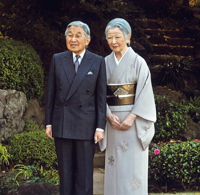 Emperor Akihito and his wife Michiko, who was a commoner when they married in 1959. The law forbidding marriage outside the royal family applies only to women.