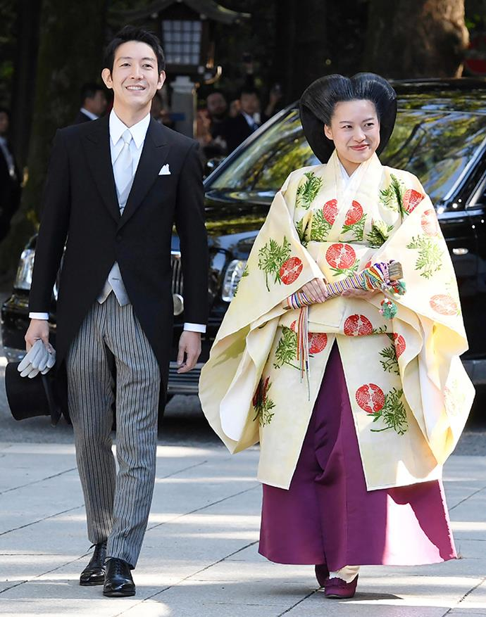 Ayako and Kei on their wedding day.