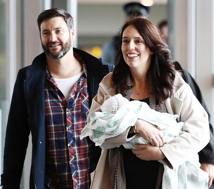 The family arriving back in Wellington when Jacinda returned to work after taking maternity leave for six weeks.