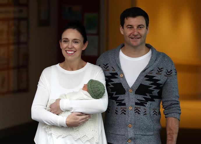 Jacinda Ardern and Clarke Gayford introduce baby Neve to 'the village' as they leave Auckland Hospital. *Photo: Getty Images*