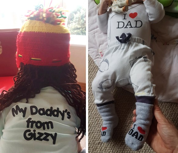 Neve in her knitted dreadlocks hat from St Lucia and in Dad-themed clothing favoured by her doting father.
