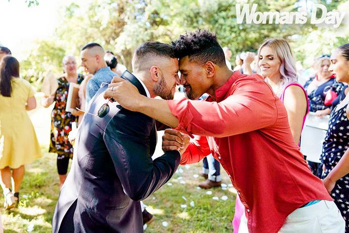 TJ and fellow All Black Ardie Savea share a hongi.