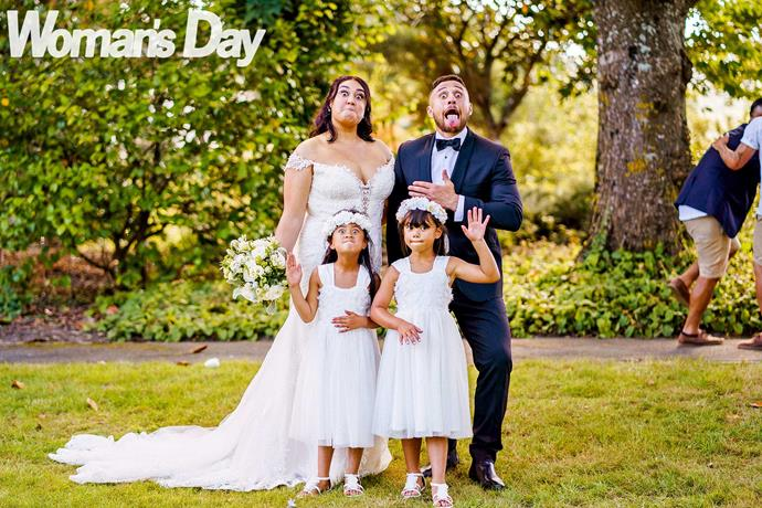 You've got to know how to pukana in this whanau! With their flower girls Makere Perenara and Georgia Paul.