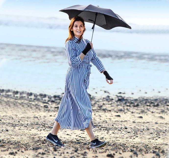 "Making a stand under her  umbrella on Waiheke in March 2018. ""Even the feel of the sun makes me quite unwell, so it's about listening to what my body tells me,"" Nigella says."