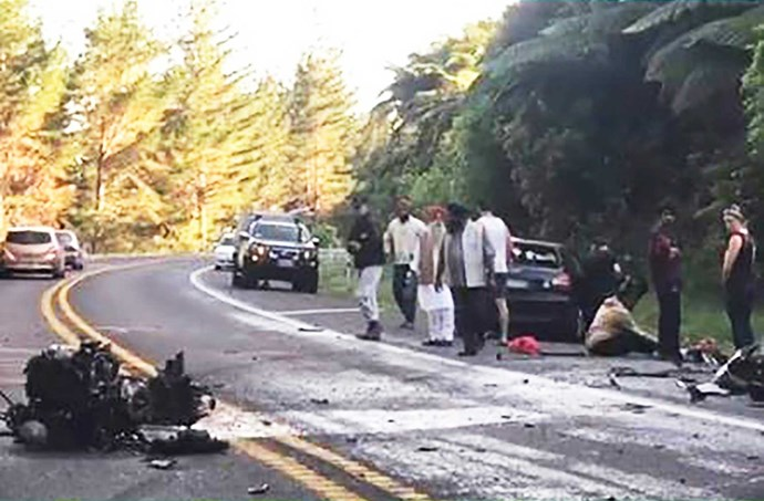 The horror crash scene.