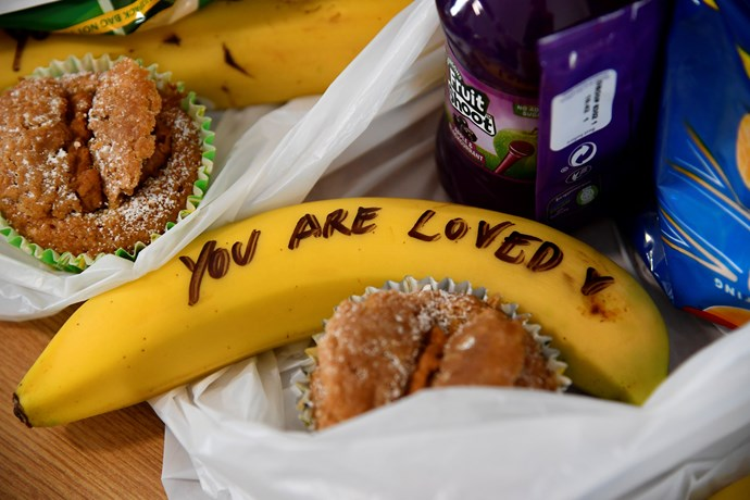 The Duchess wrote uplifting messages on bananas that were to be delivered to street sex workers in Bristol. *(Source: Getty)*