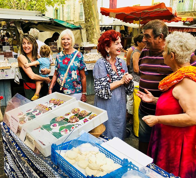 Peta at the market in Uzès, the medieval French town she lives in for part of each year.