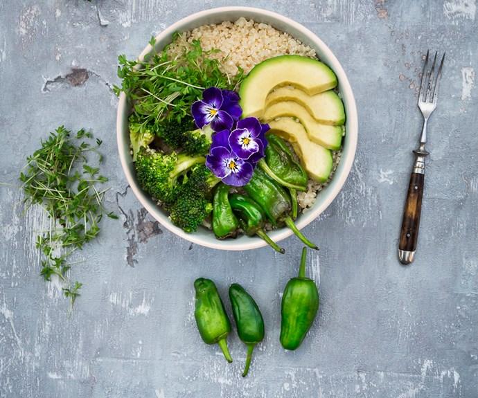 Vegetarian buddha bowl vegetables avocado