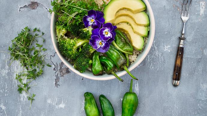 Vegetarian buddha bowl vegetables avocado