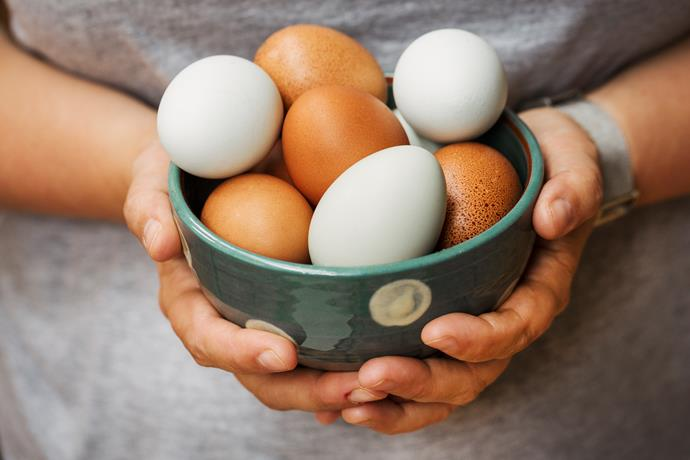 """Increase choline with foods such as eggs, chickpeas, soy lecithin."" *(Source: Getty)*"