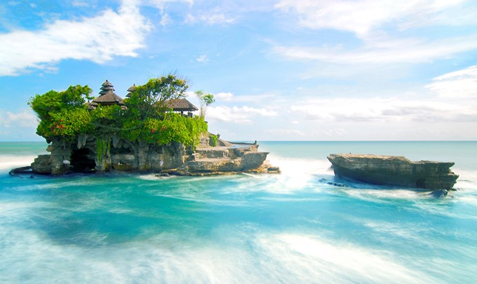 Ancient Tanah Lot sea temple is popular with tourists interested in Bali's spirituality.