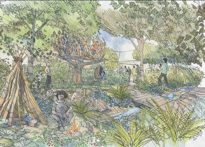 The sketch of the 'Back to Nature' garden shows a stream, stepping stones, a treehouse and rustic den. *(Image: instagram/@kensingtonroyal)*