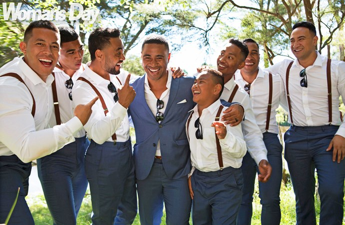 Beulah with his groomsmen (from left) Patrick Chu-Shing, brother Va'a, best man and brother James, brothers Milo and Mefi, and kids' godfathers Dominic Ona-Ariki and Neil Amituanai.