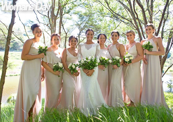 Georgia and her pretty line-up (from left) sister and maid of honour Tamara, sister Janelle, sister-in-law Penina Koale, sister Deanna, her sons' godmother Shanice Wiki, and cousins Charlie and Danielle Health.