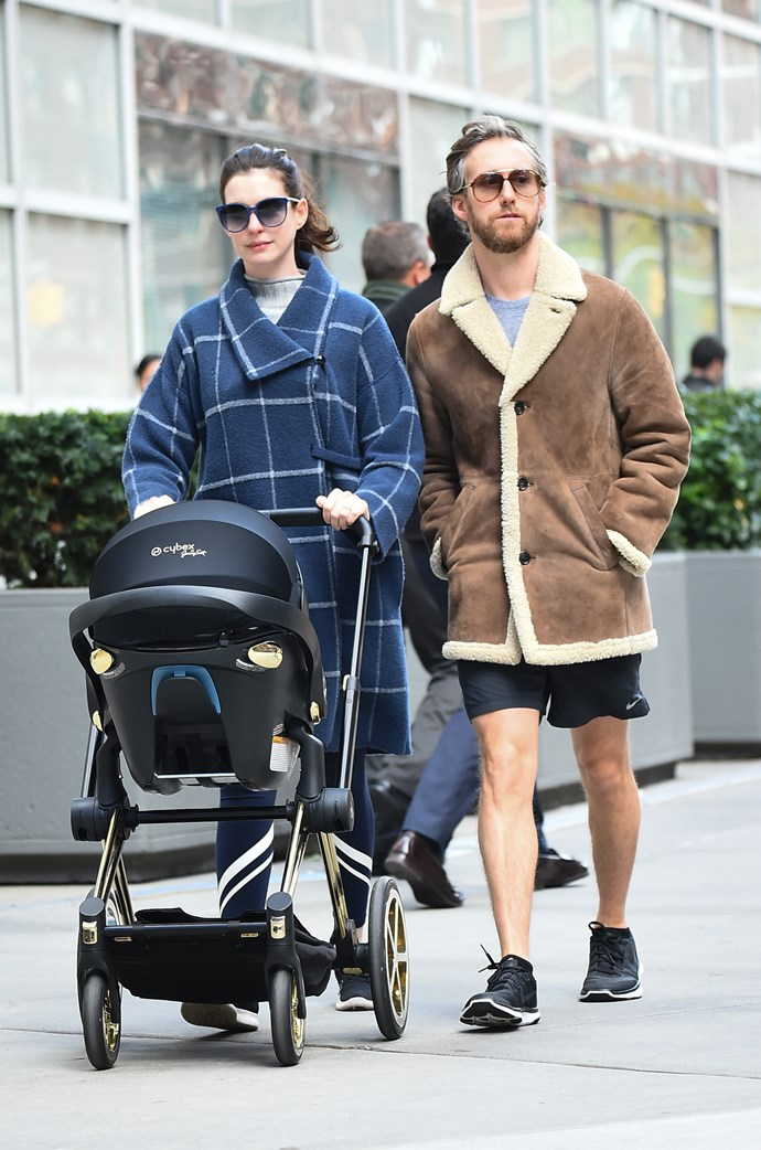 Anne Hathaway out and about with her son Jonathan and husband Adam Shulman. *(Image: Getty)*