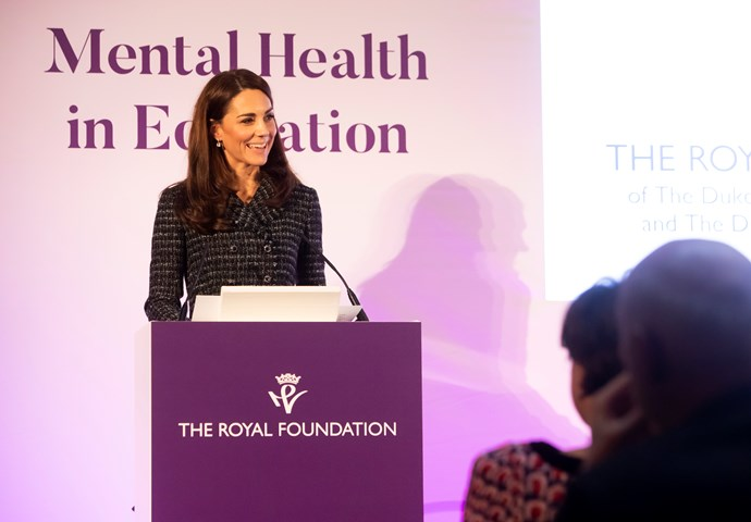 Duchess Catherine, who has long been an advocate for mental health support, particularly among youth, speaks at the Mental Health in Education conference. *(Image: Getty)*