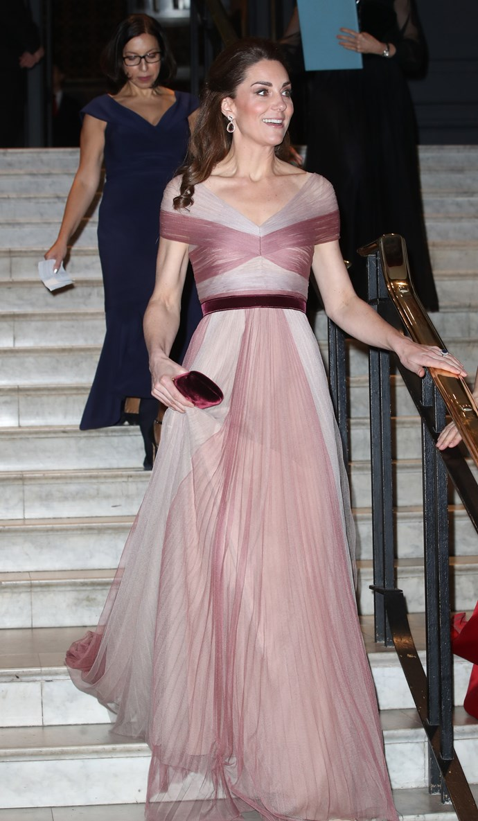 The Duchess of Cambridge dazzled in a gorgeous pink Gucci gown. *(Image: Getty)*