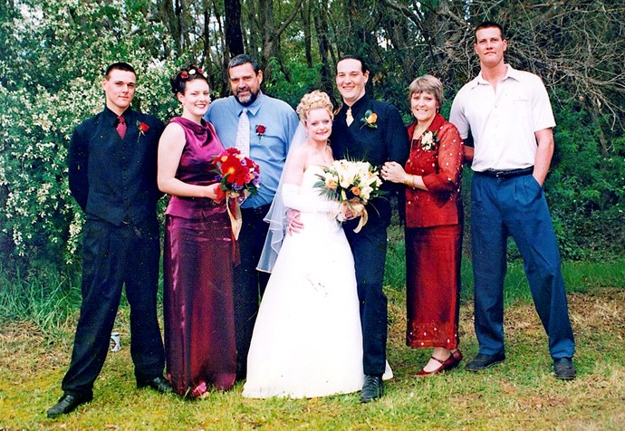From left: Bronson, sister Nateisha, dad Neil, Brodie and his wife Sancha, and Sasha *(Image: Supplied).*