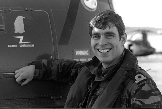 Prince Andrew at Port Stanley following the Falklands War in June 1982. *(Image: Getty)*