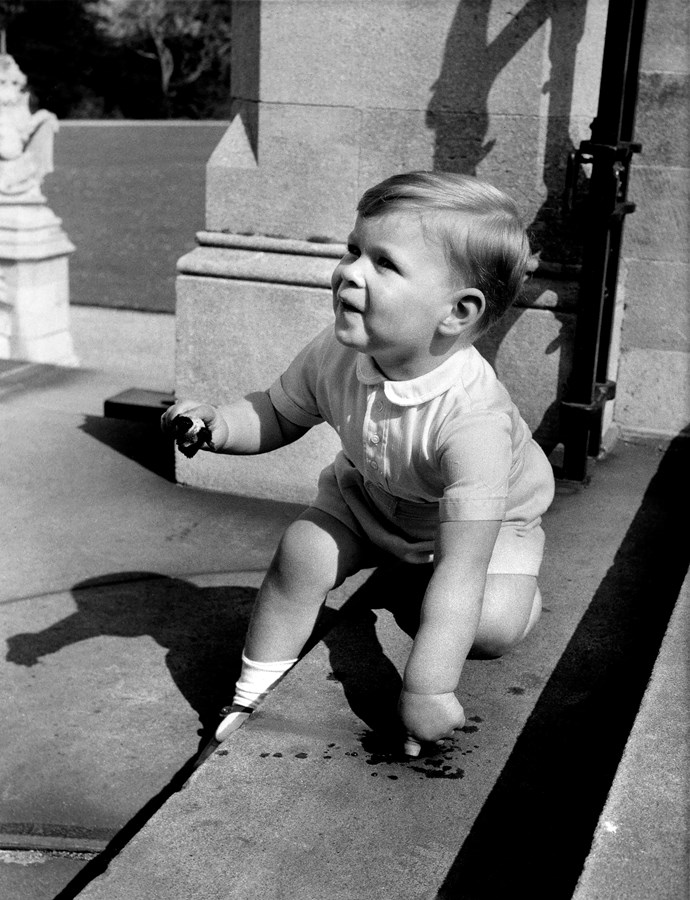Two-year-old Prince Andrew at Windsor Castle in September 1962. *(Image: Getty)*