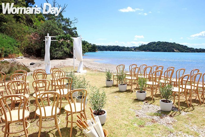 A private cove and parasols await the guests.