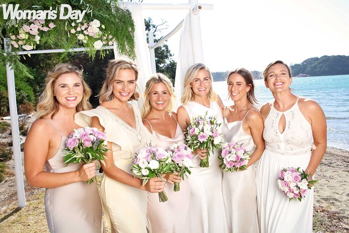 Matilda shares the limelight with her beautiful bridesmaids (from left) Steph Brown, Art's sister Emily, Georgie, Kelsey and her sister Chloe.