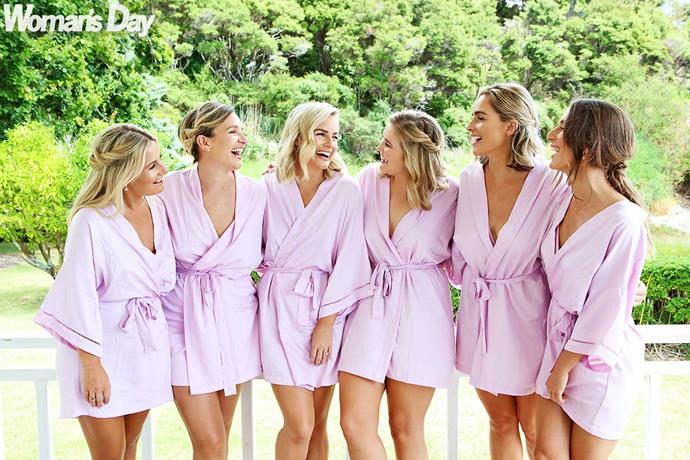 Matilda enjoys her last hours as an unmarried woman with her pretty-in-pink bridesmaids.