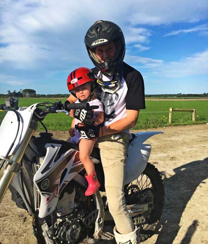 Daddy's girl Alessia Lily on Jeremy's new dirt bike.