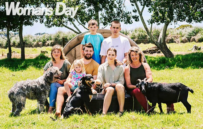 From left: Danni, her daughter August-Rose, three, fiance Simon, 26, and son Taavi, seven, Stevie, her boyfriend Cody, 20, and Lyn.