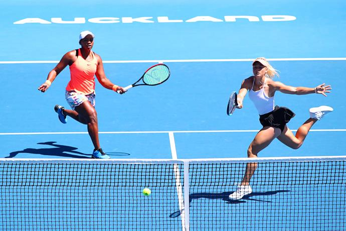 With doubles partner Taylor at the ASB Classic. *Photo: Getty Images*