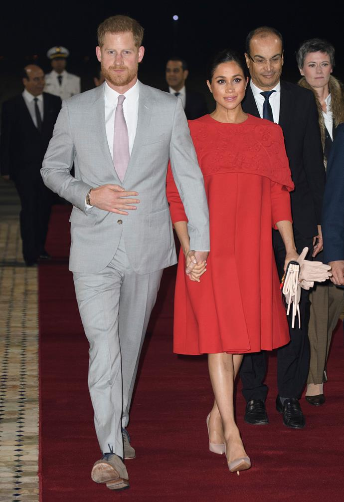 Prince Harry and Duchess Meghan wowed as they met the Crown Prince Moulay Hassan of Morocco. *(Image: Getty)*